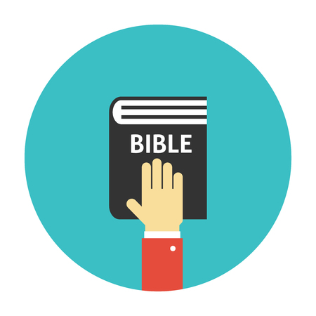 pledge: Hand on the Bible icon flat. Taking oath illustration
