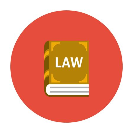 regulations: Law book icon flat. Collection of laws and regulations Illustration