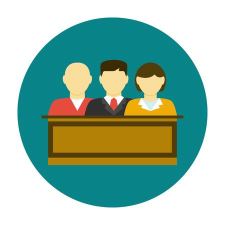 female judge: Jury icon flat. Jury sitting in the court Illustration