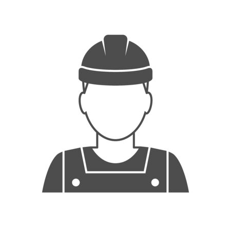 industrial worker: Worker avatar icon. Industrial worker person illustration