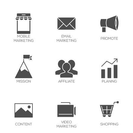 affiliate: Business marketing icons. Affiliate and promotion marketing