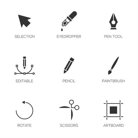 artboard: Graphic designer tools icons. Vector illustrator tools