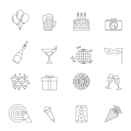 holiday party: Celebration linear icons. Party holiday vector symbols