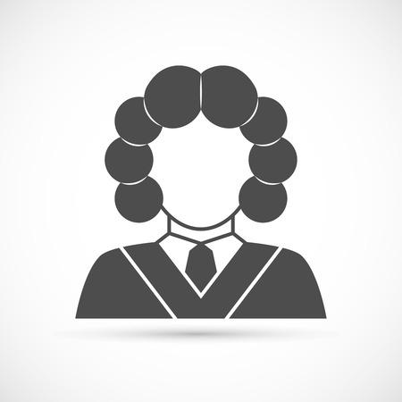 wig: Judge avatar icon. Judge in a wig vector illustration