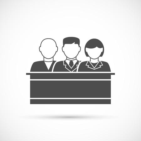 Jury icon. Jury sitting in the court Illustration
