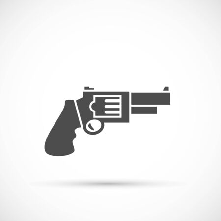 caliber: Revolver pistol icon. Revolver security caliber Illustration
