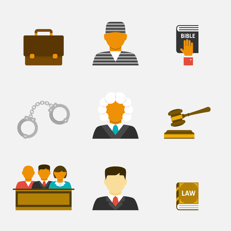 legal system: Law and justice flat icons. The legal system, judge and lawyer