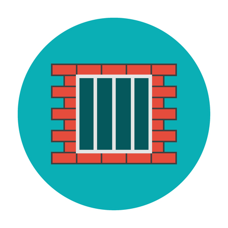 Jail icon flat. Grill on the brick wall