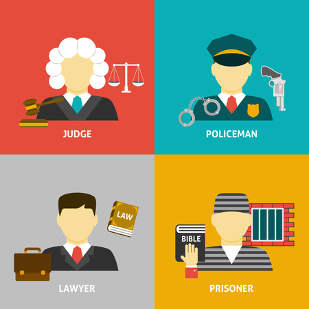 Profession flat avatar icons. Justice law and order legal service