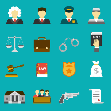 legal system: Law and justice flat icons set. The legal system, judge, lawyer and prisoner