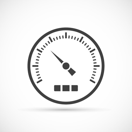 gas meter: Speedometer icon on white background