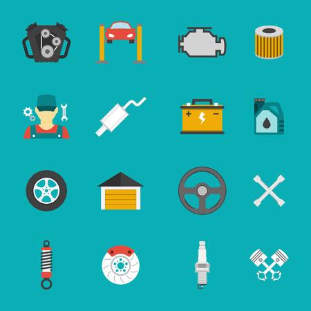 disk break: Auto Service Icons Flat set. Car repair service icons Illustration