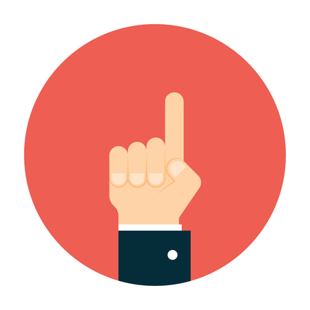 man pointing up: Business man hand pointing up. Raised forefinger hand Illustration