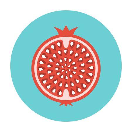 Garnet icon flat. Pomegranate illustration