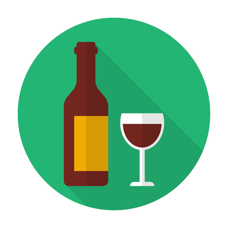 Glass and bottle of wine Illustration