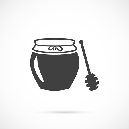 wooden stick: Jar of honey with wooden stick icon