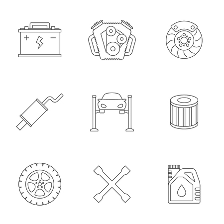 disk break: Auto service linear icons