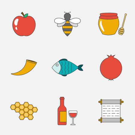shana: Rosh Hashanah, Shana Tova flat line icons set Illustration
