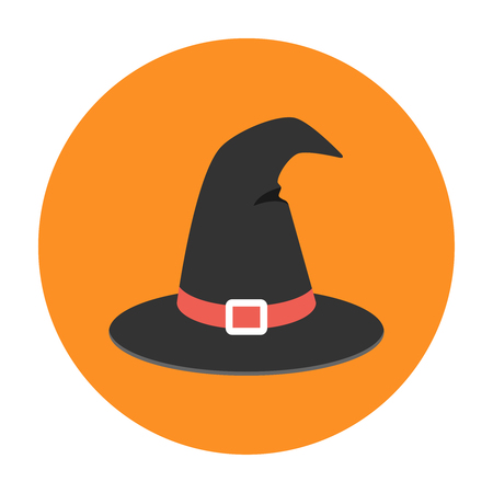 Witch hat flat icon. Helloween illustration