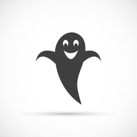 ghostly: Grinning ghost icon on white background Illustration