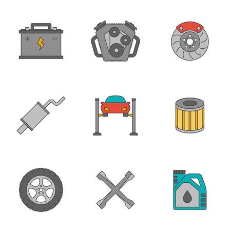 disk break: Auto service flat line icons. Car repair service icons
