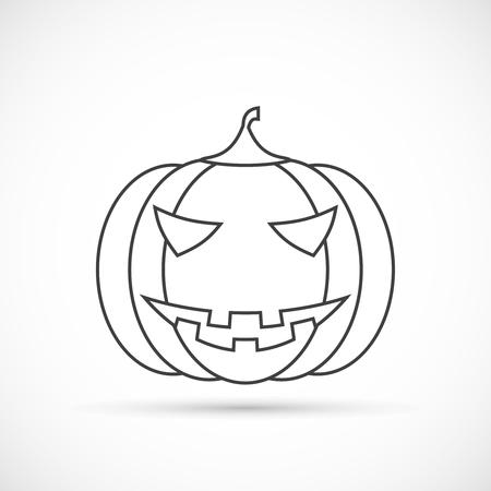 helloween: Helloween pumpkin outline icon on white background Illustration