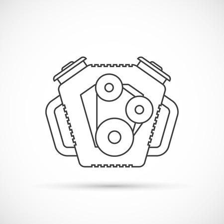 spare part: Car engine outline icon. Car repair service spare part