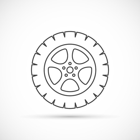 spare part: Car wheel outline icon. Car repair service spare part Illustration