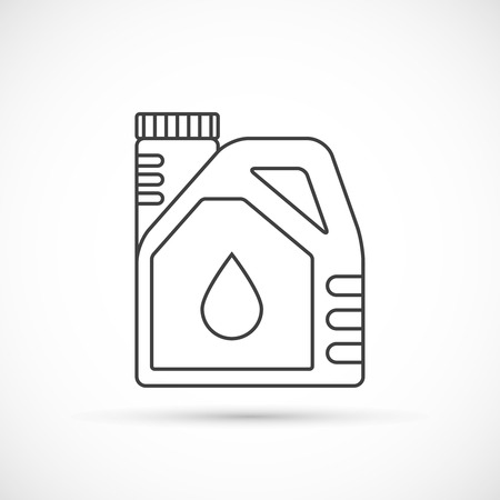 engine oil: Engine oil outline icon. Plactic canister with car motor oil Illustration