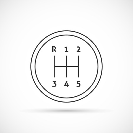 shifter: Manual transmission outline icon. Gear shifter icon