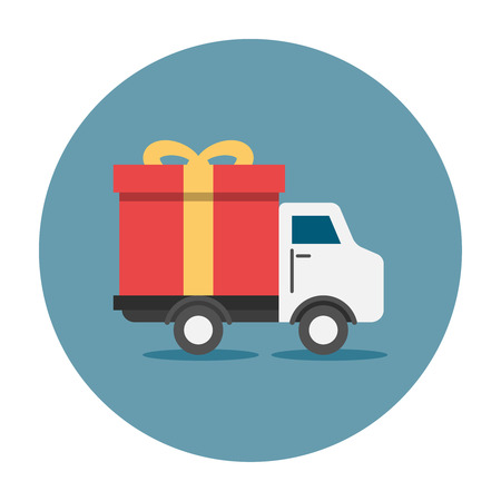 Truck delivey gift box. Truck transporting a huge red gift box with yellow ribbon