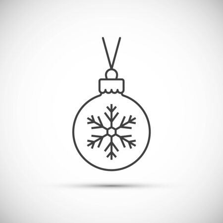 Christmas ball thin line icon on white background