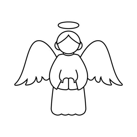Christmas angel thin line icon on white background