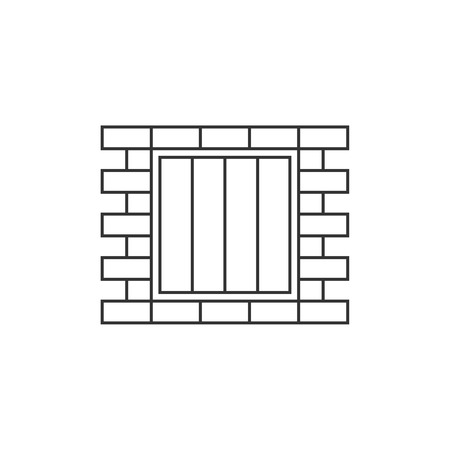 inmate: Jail window line icon on white background Illustration