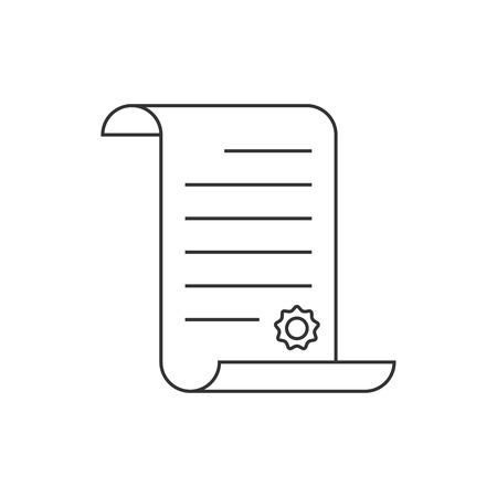 decree: Paper scroll line icon on white background