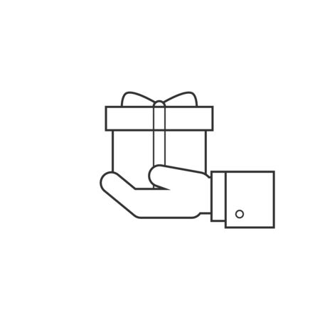 altruism: Gift box in hand line icon