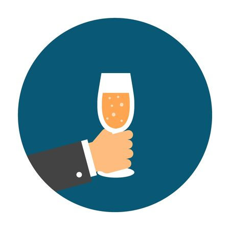 Hand holding a glass of champagne. Flat icon