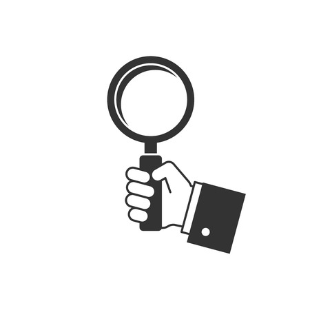 Holding magnifying glass icon