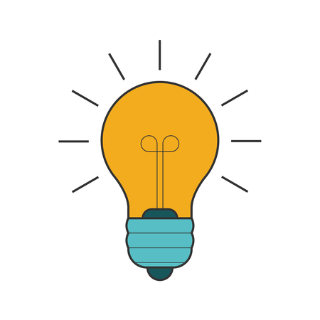 Lightbulb flat line icon Illustration