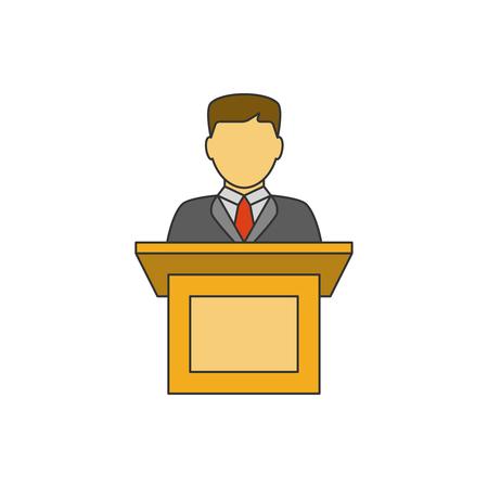Orator speaking flat line icon