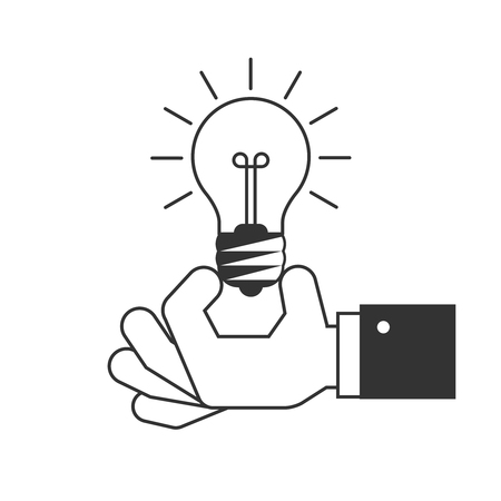 Hand holding a light bulb icon Illustration