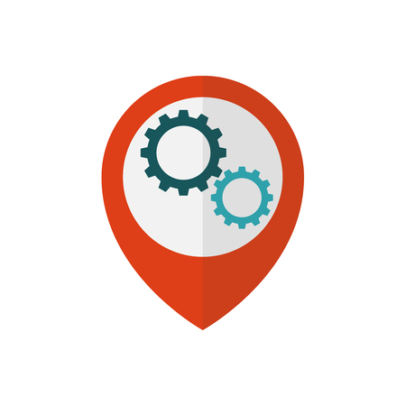 Map pointer with gears inside