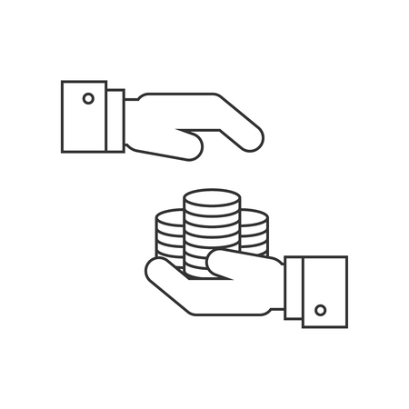 Money protection line icon Illustration