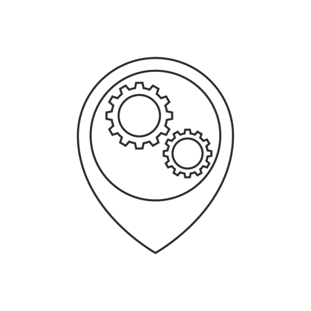 Map pointer with gears inside line icon