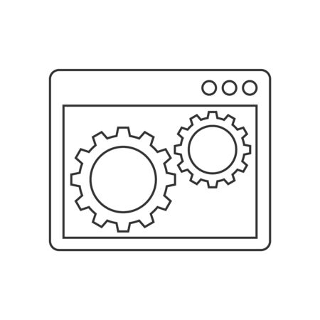 Gears inside the browser window line icon