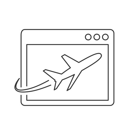 Airplane on site page line icon