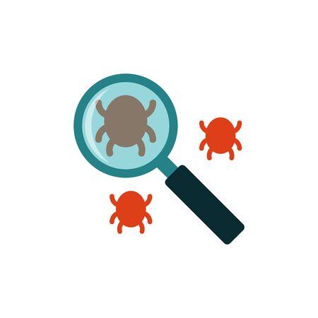 Search bug flat icon Illustration