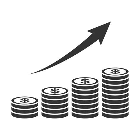 exponential: Salary Progress coin graph icon