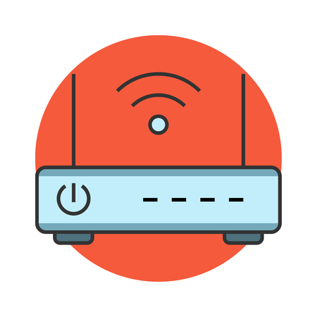 access point: Wireless router flat line icon Illustration