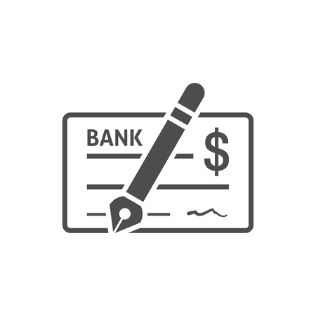 Bank check icon flat